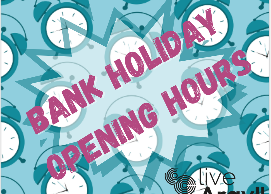 Bank holiday opening hours written over multiple clocks
