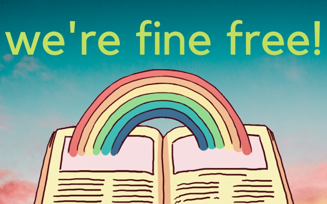 Book with rainbow between pages. liveArgyll libraries are fine free