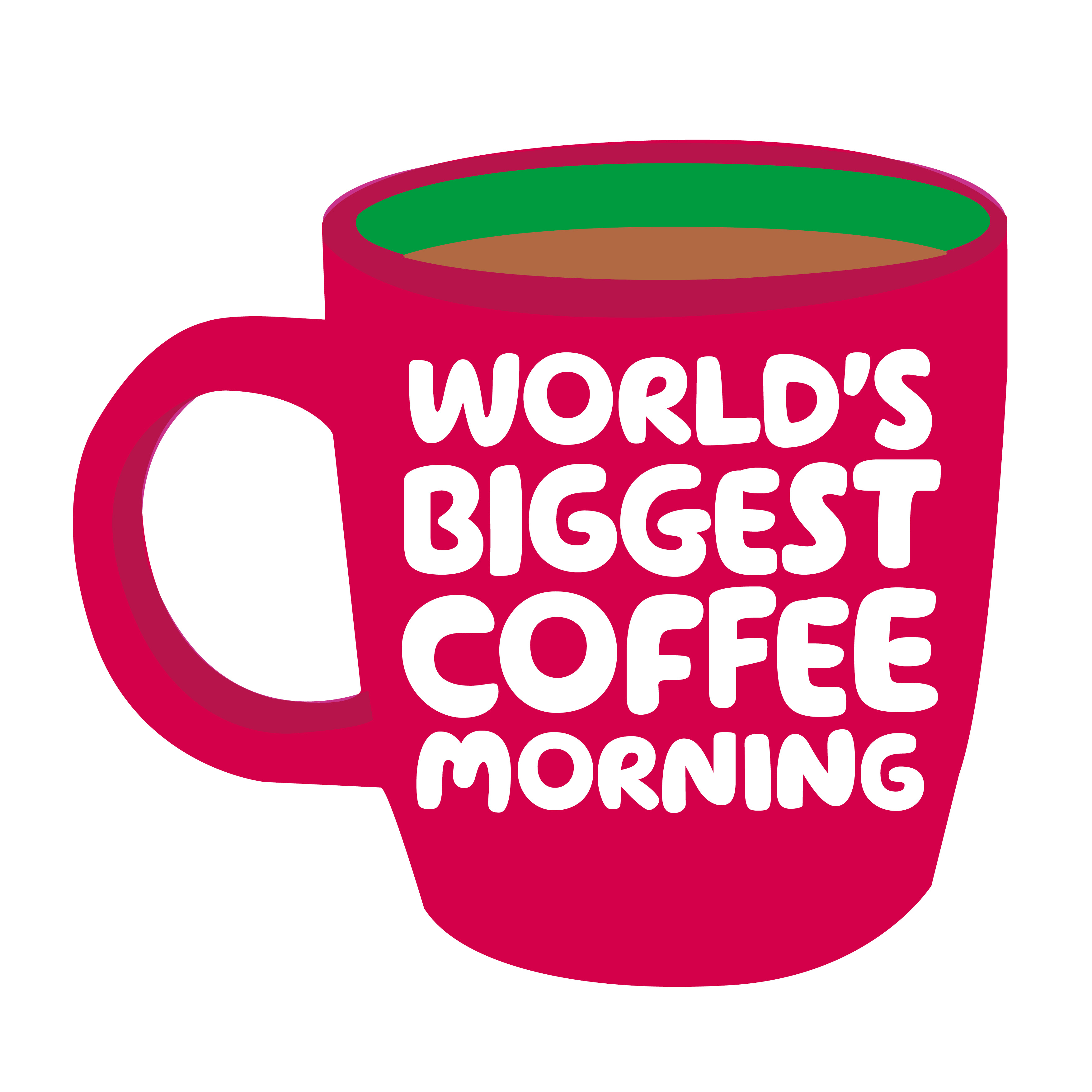 Macmillan coffee morning - Red mug with World's Coffee Morning written on itBiggest