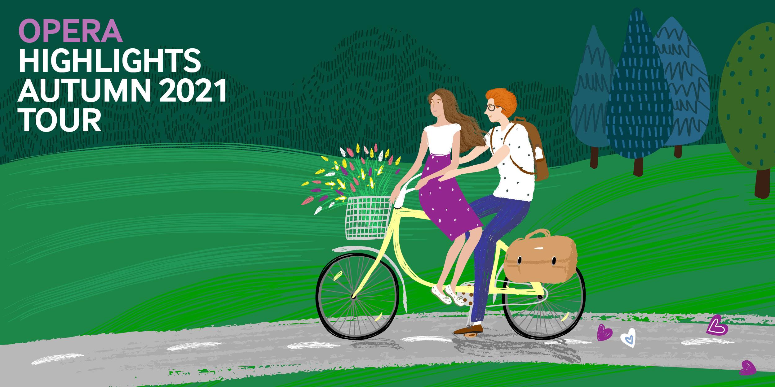 Couple on a bike- - Scottish Opera Opera Highlights Tour