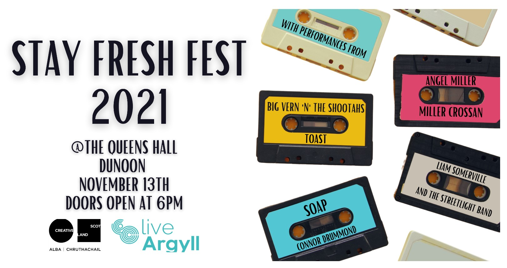 Stayfresh Music Festival poster colourful cassette tapes with names of each performer